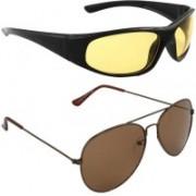 Aoking Wrap-around, Aviator Sunglasses(Yellow, Brown)