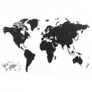 MiMi Innovations Карта на света стенна Luxury пъзел черна 150x90 см