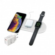 Ksix Cargador Inalámbrico Carga Rápida 3 en 1 para Smartphone/Airpods/Apple Watch