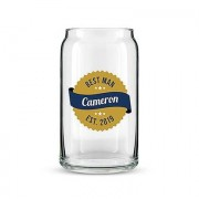 Confetti Beer Can Shaped Glass Personalised - Gold Seal Printing