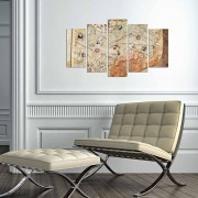 Tablou decorativ multicanvas Charm, 5 Piese, Harta Lumii, 223CHR3941, Multicolor