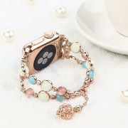 Unique Handmade Luminous Night Pearl Wrist Band Strap for Apple Watch Series 5 4 40mm / Series 3 2 1 38mm - Rose Gold