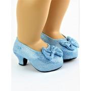 "American Fashion World Blue Sparkle High Heels   Fits 18"" American Girl Dolls, Madame Alexander, Our Generation, Etc.   18"