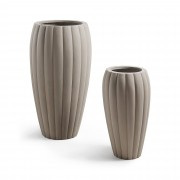 Kave Home Conjunto Lisa de 2 vasos , en Poli-cimento - Cinzento