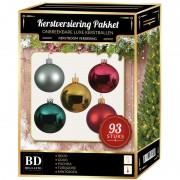 Bellatio Decorations Kerstballen pakket 93 stuks met piek gekleurd