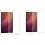 Coloured Tempered Glass for Redmi Note 4 Pack Of Two Screen Protector (White)