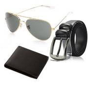 Random Mens Belt Wallet and Golden Aviator Sunglass Combo