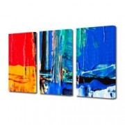 Tablou Canvas Premium Abstract Multicolor Albastru Rosu Si Orange Decoratiuni Moderne pentru Casa 3 x 70 x 100 cm