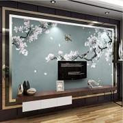ponana Papel Pintado Mural Personalizado 3D Magnolia Pintada A Mano Flores Y Pájaros Pintura De Pared Sala De Estar Dormitorio Estudio Impermeable Pegatinas 3D-250X175Cm