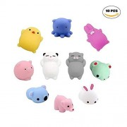 A Little Lemon Squishy Toys 10 Pcs Mochi Kawaii Squishies Squishy Animals Stress Toys Stress Relief Animal Toys Squeeze Toys, Fidget Hand Toy for Pressure Release