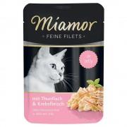 -6х100г Feine Filets Miamor, консервирана храна за котки, риба тон и калмари