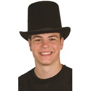 Deluxe Felt High Crown Costume Top Hat 23734 Victorian Dickens Black Large 60cm