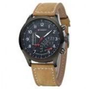Curren Brown Leather Strap Black Analog Dial Denim Watch Meter Design By 7Sstar by sport online