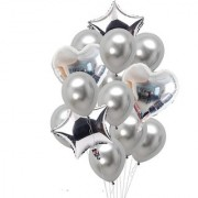 Stylewell Set of 10 Soild Attractive Silver 18 Inch 3d Foil Toy Balloons For Birthday Anniversary Parties Decorations