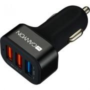 CANYON Universal 3xUSB car adapter(1 USB with Quick Charger QC3.0), Input 12-24V, Output USB/5V-2.1A+QC3.0/5V-2.4A&9V-2A&amp