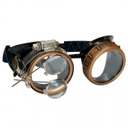 Steampunk Goggles Rave Glasses with Compass Design, Handcrafted Victorian Style, Double Ocular Loupe Gold-clear