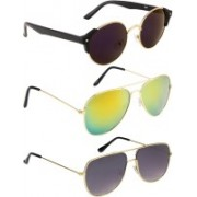 NuVew Aviator, Round, Retro Square Sunglasses(Blue, Golden, Grey, Violet)