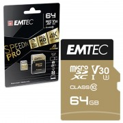 Emtec SpeedIn Pro UHS-I U3 V30 MicroSD Card - ECMSDM64GXC10SP - 64GB