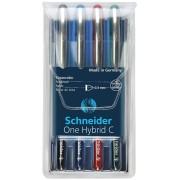 Schneider Pióro kulkowe Schneider ONE Hybrid C 0,3 mm, w etui 4 szt., miks kolorów