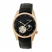 Heritor Automatic Alexander Semi-Skeleton Leather-Band Watch - Rose Gold/Black HERHR4906