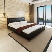 vidaXL Двойно легло с матрак, изкуствена кожа, черно, 180x200 cм