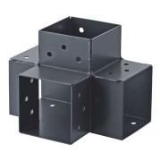 "Conector grinzi lemn tip ""X"" 90x90 mm, unghi 90°, otel zincat negru"