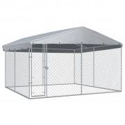 vidaXL Chenil extérieur avec toit pour chiens 3,8x3,8x2,4 m