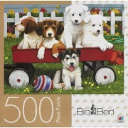 Hasbro And Milton Bradley Big Ben Puppy Play Date 500 Piece Puzzle Puppies Dog In Red Wagon