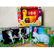 PLAY DESIGN White Beautiful Rabbit ,Walking Cow and Duck Lays Eggs (Multicolor) combo pack
