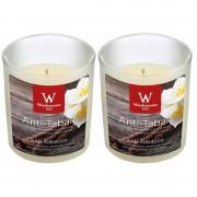 Trend Candles 2x Geurkaarsen anti tabak/vanille in glazen houder 25 branduren - geurkaarsen