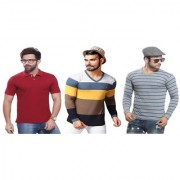 Kundan Exclusive Men's 100% Pure-Cotton V-Neck Full Sleeves Slim Fit & Polo Neck Regular Fit Half Sleeves Plain T Shirt ( Pack of 3 T Shirt for Men )