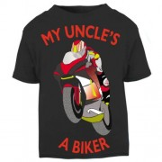 X - My Uncle is a biker motorcycle toddler baby childrens kids t-shirt 100% cotton