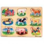 Puzzle lemn cu sunete Animale de la Ferma Melissa and Doug, 8 sunete