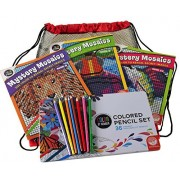 Mystery Mosaics Color by Number _ 3 Book Bundle _ With 36 Color Pencil Set in Hinged Tin _ Bonus Black Mesh / Red Nylon Drawstring Carry Bag _ Bundled Items