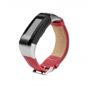 PU Leather Watchband Replacement with Connector and Tool for Garmin Vivosmart HR - Red