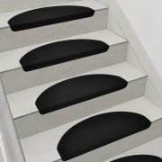 [en.casa]® Lépcsőszőnyeg 15 db-os szett 280 g/m² öntapadós kerek fekete