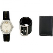 Crude Smart Combo Analog Watch-rg213 With Black Leather Belt Wallet