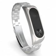 pulsera de lujo de acero inoxidable de repuesto correa ultrafina de metal para xiaomi mi band 2 - plata