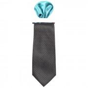 Cravata barbati cu batista decorativa de buzunar - negru/albastru