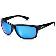 Costa del Mar Unisex-Adult Mag Bay AA 11 OBMGLP Polarized Iridium Wrap Sunglasses, Shiny Black, 63.2 mm