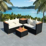 vidaXL Set mobilier de grădină 14 piese, poliratan și blat WPC, negru