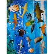 Siddhi Vinayak™ Jumbo Size Ocean/Water/Marine Animals Figures Set Toy for Kids with a Ocean Camouflage Mat (Multi Colour)