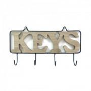 Suport chei din lemn cu cadru metalic 26 cm lungime