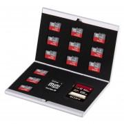 14 En 1 Tarjeta De Memoria Sd, Estuche Protector Caja De Aleacion De Aluminio + 12 Tf + Tarjetas Mini Sd (Plateado)