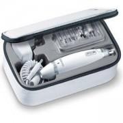 Професионален комплект за маникюр и педикюр Beurer, 10 накрайника, LED светлина, несесер за съхранение, MP62