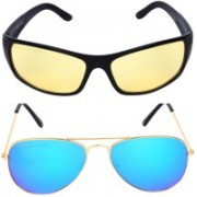 Criba Aviator, Retro Square Sunglasses(Yellow, Blue)
