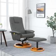 vidaXL Масажен стол с табуретка за крака, сив, изкуствена кожа