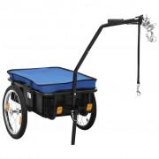 vidaXL Remorque de bicyclette/chariot à main 155x61x83 cm Acier Bleu