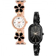 New Katrodiya Arrival Black Flower Belt And Rectangle Black Dial Watch 2 Combo Watch For Girls Analog Watch - For Girls