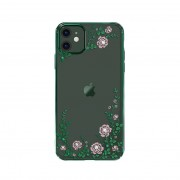 KAVARO Flowers Style Swarovski Plated PC Case Shell for iPhone 11 6.1 inch - Green